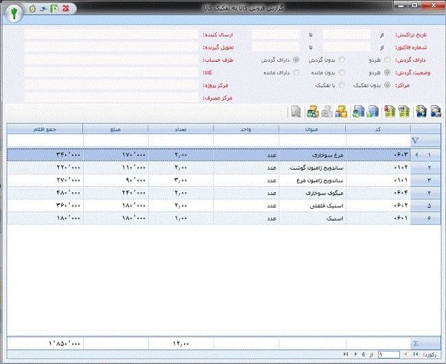 گزارش فروش روزانه